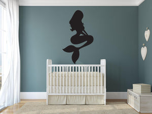 Mermaid Sitting Wall Decal - Canvas Art Rocks - 1
