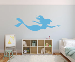 Mermaid Swimming Wall Decal - Canvas Art Rocks - 1