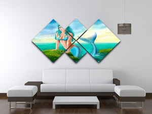 Mermaid in sea 4 Square Multi Panel Canvas  - Canvas Art Rocks - 3