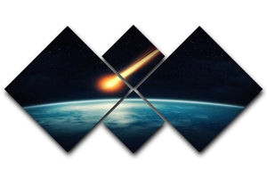 Meteor flying to the earth 4 Square Multi Panel Canvas  - Canvas Art Rocks - 1