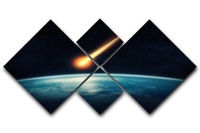Meteor flying to the earth 4 Square Multi Panel Canvas
