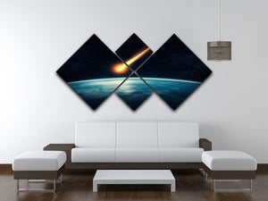 Meteor flying to the earth 4 Square Multi Panel Canvas - Canvas Art Rocks - 3
