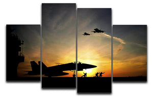 Military aircraft before take-off 4 Split Panel Canvas  - Canvas Art Rocks - 1