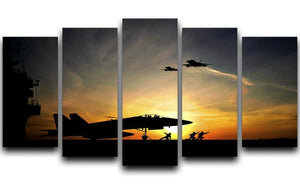 Military aircraft before take-off 5 Split Panel Canvas  - Canvas Art Rocks - 1