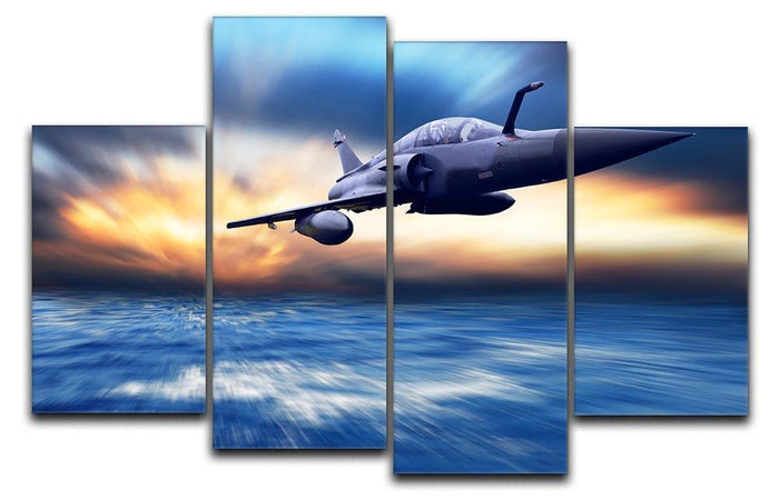 Military airplan on the speed 4 Split Panel Canvas