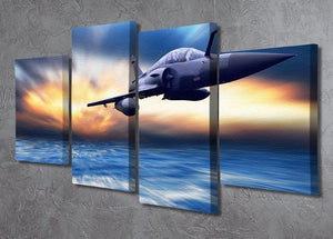 Military airplan on the speed 4 Split Panel Canvas  - Canvas Art Rocks - 2