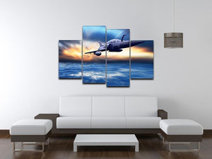 Military airplan on the speed 4 Split Panel Canvas  - Canvas Art Rocks - 3