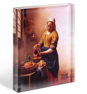 Milk maid by Vermeer Acrylic Block - Canvas Art Rocks - 1