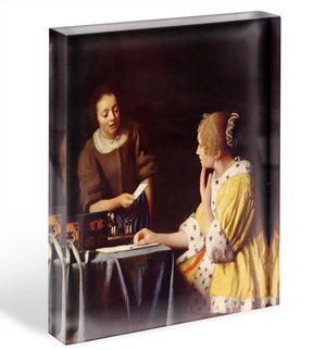 Mistress and maid by Vermeer Acrylic Block - Canvas Art Rocks - 1