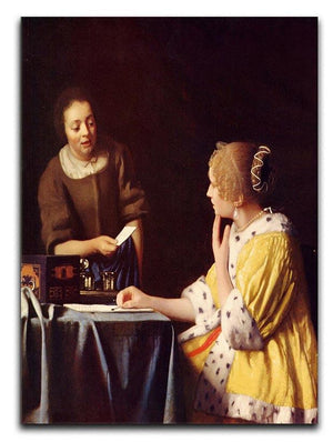 Mistress and maid by Vermeer Canvas Print or Poster - Canvas Art Rocks - 1