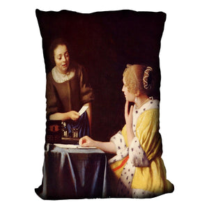 Mistress and maid by Vermeer Cushion