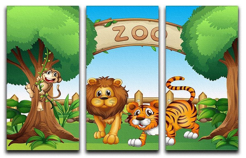 Monkey lion and a tiger at Zoo 3 Split Panel Canvas Print - Canvas Art Rocks - 1