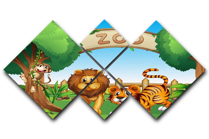 Monkey lion and a tiger at Zoo 4 Square Multi Panel Canvas