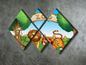 Monkey lion and a tiger at Zoo 4 Square Multi Panel Canvas - Canvas Art Rocks - 2