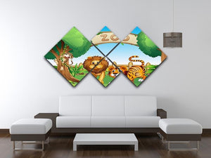 Monkey lion and a tiger at Zoo 4 Square Multi Panel Canvas - Canvas Art Rocks - 3