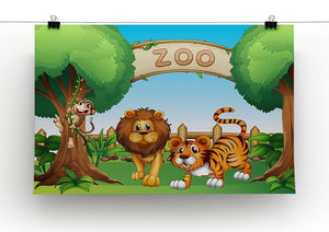 Monkey lion and a tiger at Zoo Canvas Print or Poster - Canvas Art Rocks - 2