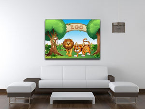Monkey lion and a tiger at Zoo Canvas Print or Poster - Canvas Art Rocks - 4