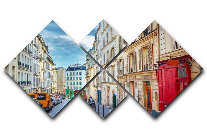 Montmartre in Paris 4 Square Multi Panel Canvas