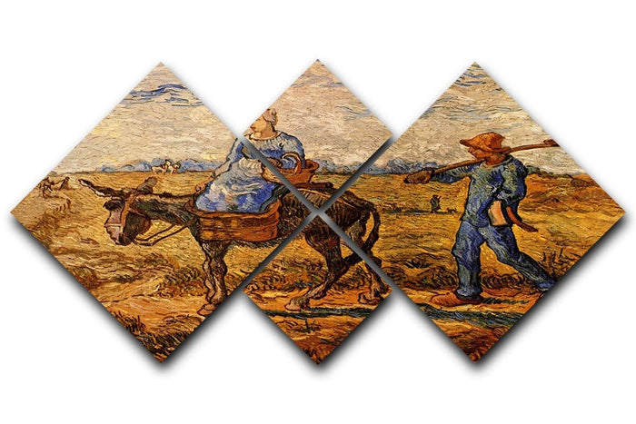 Morning Peasant Couple Going to Work by Van Gogh 4 Square Multi Panel Canvas