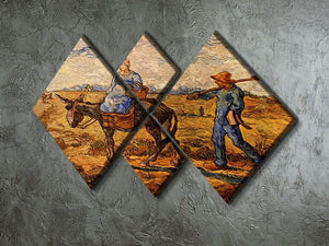 Morning Peasant Couple Going to Work by Van Gogh 4 Square Multi Panel Canvas - Canvas Art Rocks - 2