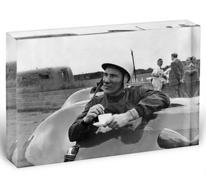 Motor racing driver Stirling Moss Acrylic Block - Canvas Art Rocks - 1