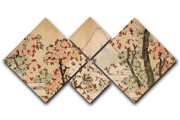 Mount Fuji behind cherry trees and flowers by Hokusai 4 Square Multi Panel Canvas