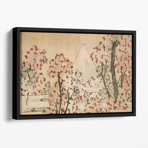 Mount Fuji behind cherry trees and flowers by Hokusai Floating Framed Canvas