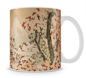 Mount Fuji behind cherry trees and flowers by Hokusai Mug - Canvas Art Rocks - 1