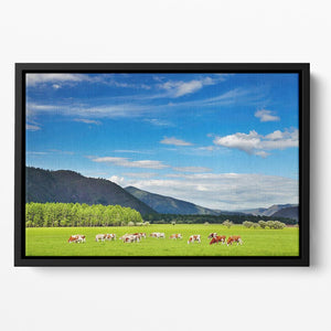Mountain landscape with grazing cows and blue sky Floating Framed Canvas - Canvas Art Rocks - 2