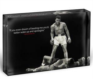 Muhammad Ali Dream Of Beating Me Acrylic Block - Canvas Art Rocks - 1