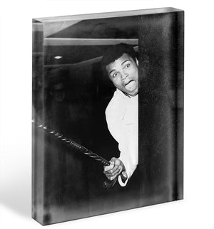 Muhammad Ali larking about at Heathrow Acrylic Block - Canvas Art Rocks - 1