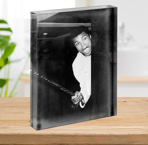 Muhammad Ali larking about at Heathrow Acrylic Block - Canvas Art Rocks - 2