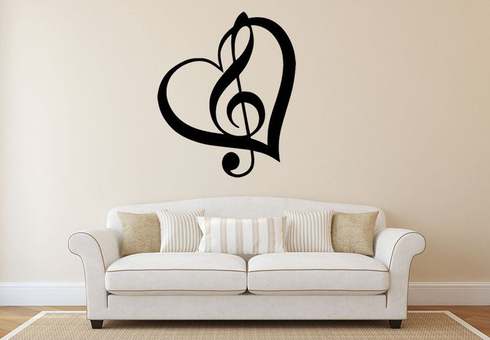 Music Love Heart Note Wall Sticker
