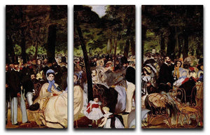 Music in Tuilerie Garden by Manet 3 Split Panel Canvas Print - Canvas Art Rocks - 1