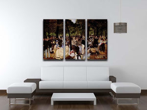 Music in Tuilerie Garden by Manet 3 Split Panel Canvas Print - Canvas Art Rocks - 3