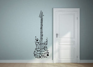 Musical Note Guitar Wall Decal - Canvas Art Rocks