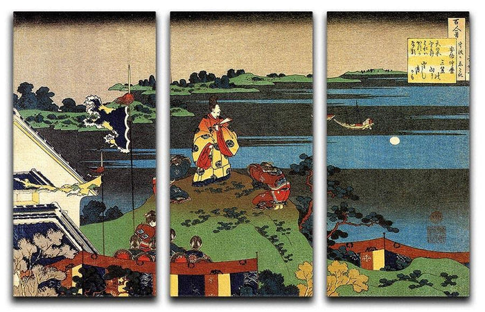 Nakamaro looking at the moon by Hokusai 3 Split Panel Canvas Print