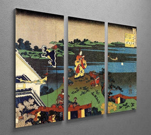 Nakamaro looking at the moon by Hokusai 3 Split Panel Canvas Print - Canvas Art Rocks - 2