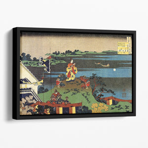 Nakamaro looking at the moon by Hokusai Floating Framed Canvas