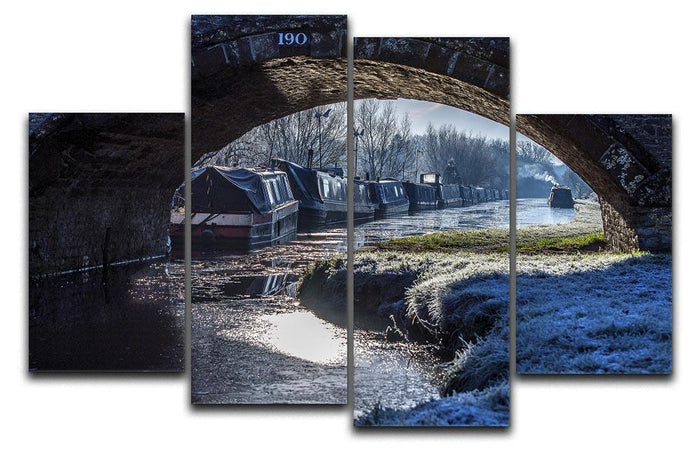 Narrowboats on the Oxford Canal 4 Split Panel Canvas