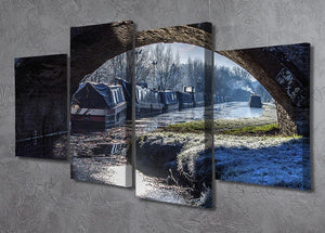 Narrowboats on the Oxford Canal 4 Split Panel Canvas - Canvas Art Rocks - 2