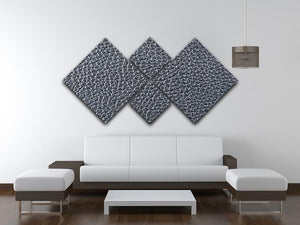 Natural qualitative black leather 4 Square Multi Panel Canvas  - Canvas Art Rocks - 3