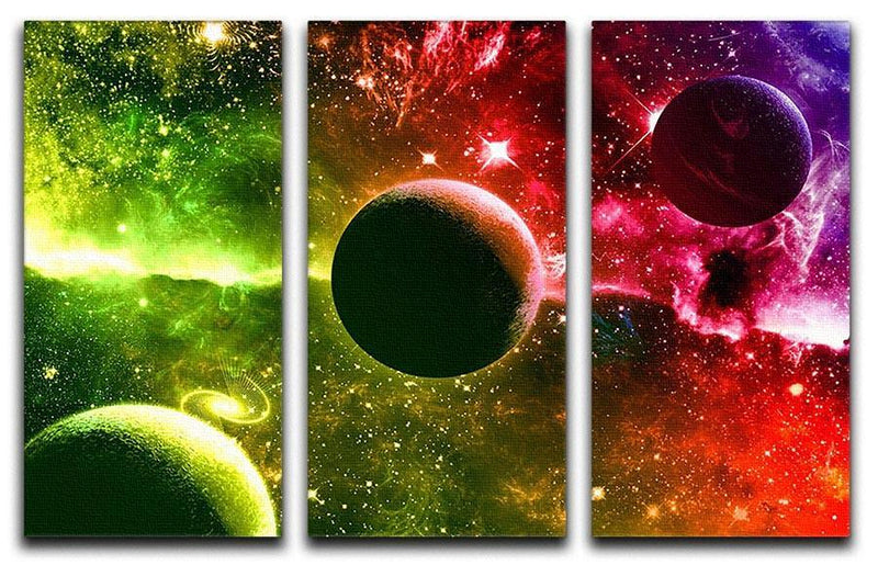 Nebula Stars and Planets 3 Split Panel Canvas Print - Canvas Art Rocks - 1