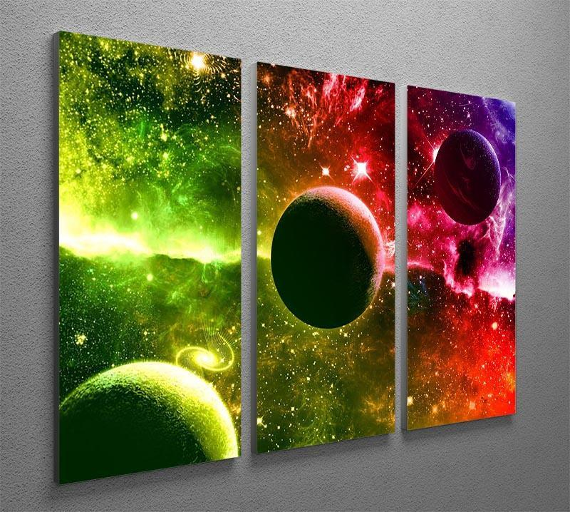 Nebula Stars and Planets 3 Split Panel Canvas Print - Canvas Art Rocks - 2