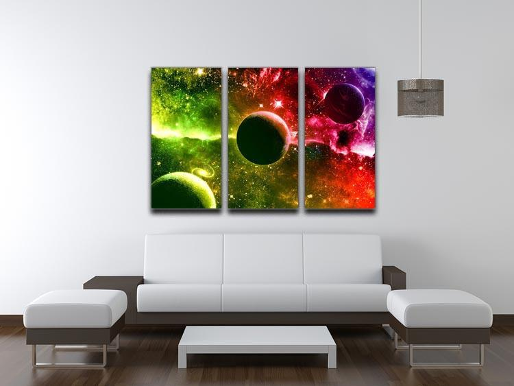 Nebula Stars and Planets 3 Split Panel Canvas Print - Canvas Art Rocks - 3