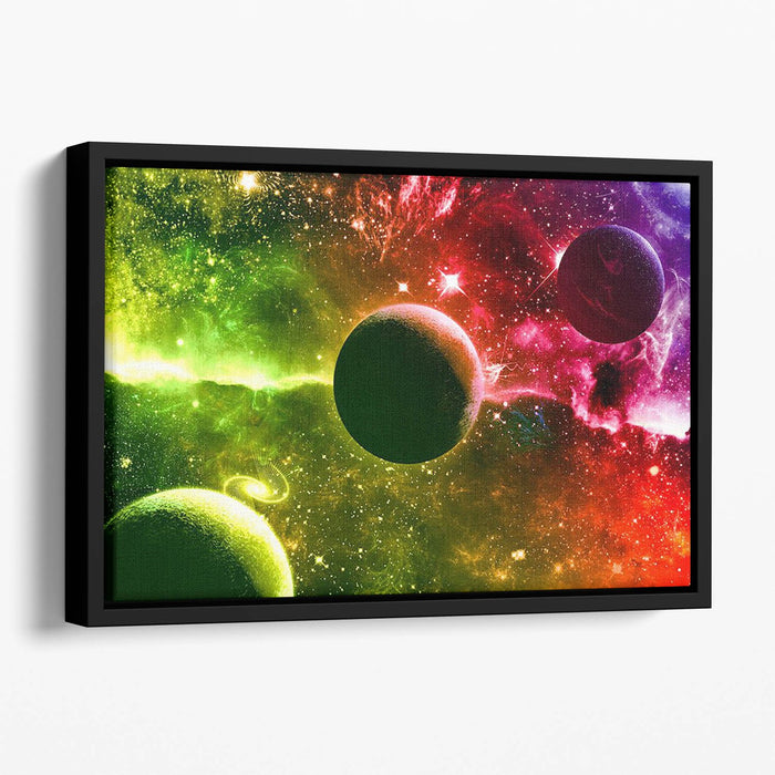 Nebula Stars and Planets Floating Framed Canvas