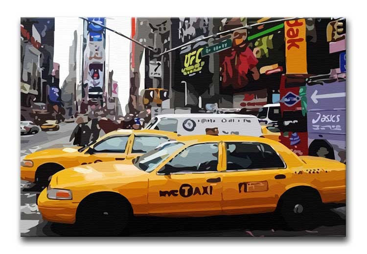 New York Taxis Times Square Print - Canvas Art Rocks - 1