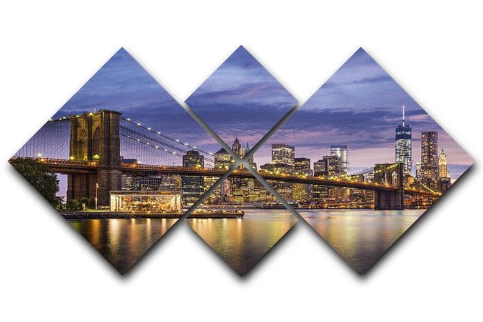 New York City at twilight 4 Square Multi Panel Canvas
