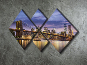 New York City at twilight 4 Square Multi Panel Canvas  - Canvas Art Rocks - 2