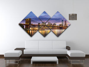 New York City at twilight 4 Square Multi Panel Canvas  - Canvas Art Rocks - 3